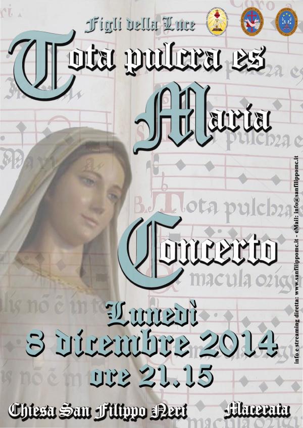 """8 dicembre: Concerto """"Tota pulcra es Maria"""""""