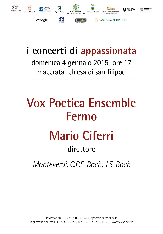 4 gennaio: Concerto Vox Poetica Ensemble - San Filippo