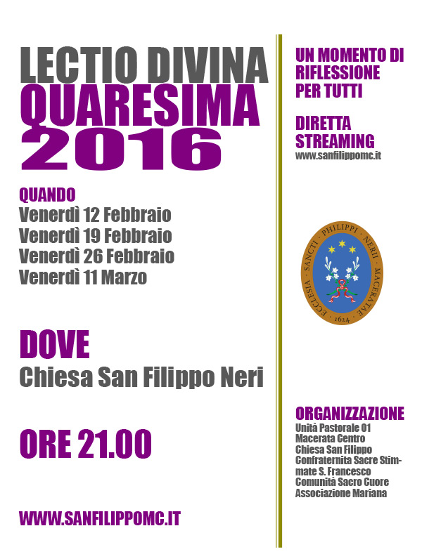 2016 Lectio Divina San Filippo Neri
